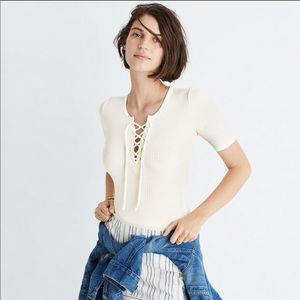Madewell Bodysuit Lace up cream